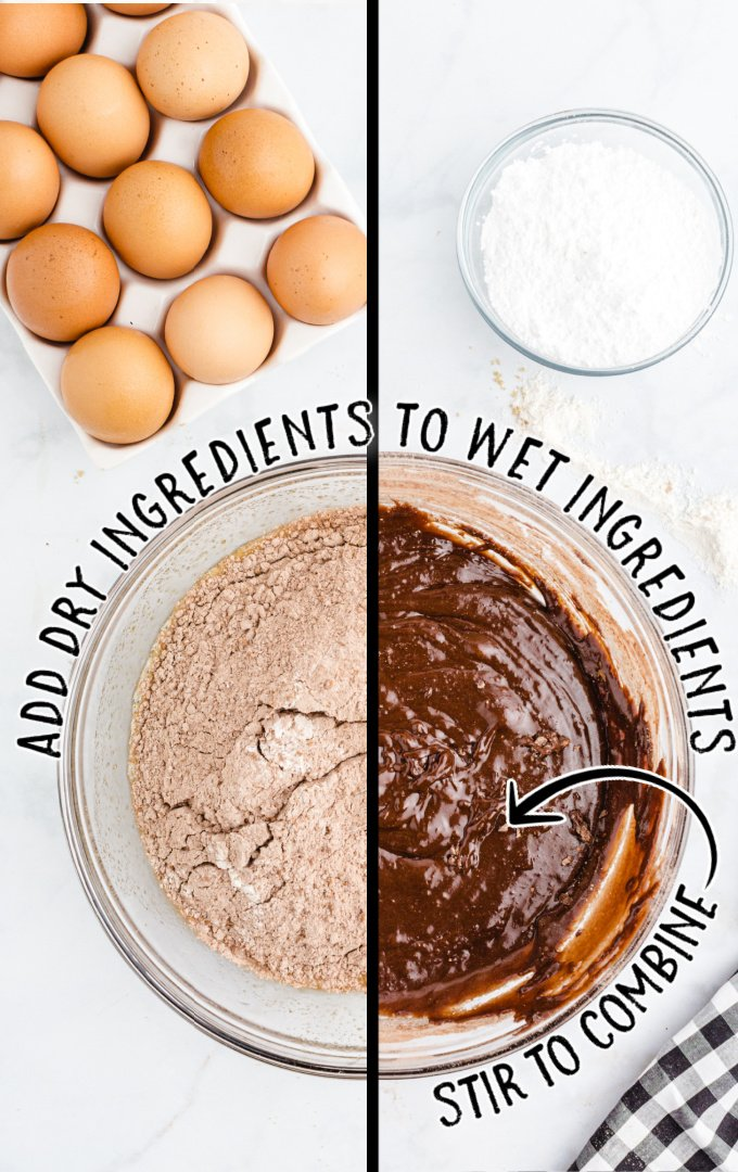 chocolate crinkle cookies process shot of before and after ingredients are mixed in a clear mixing bowl