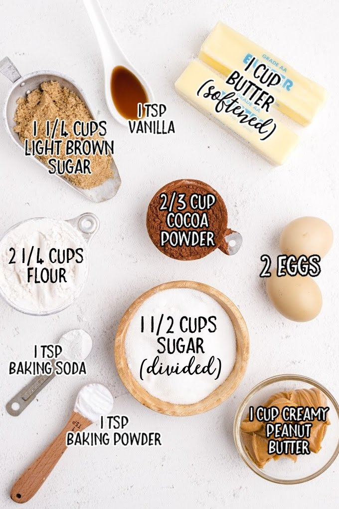 chocolate peanut butter cookies raw ingredients that are labeled