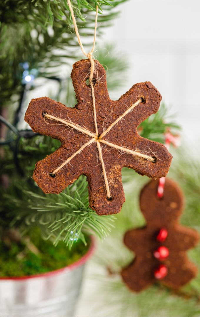 close up shot of cinnamon ornaments on a mini christmas tree