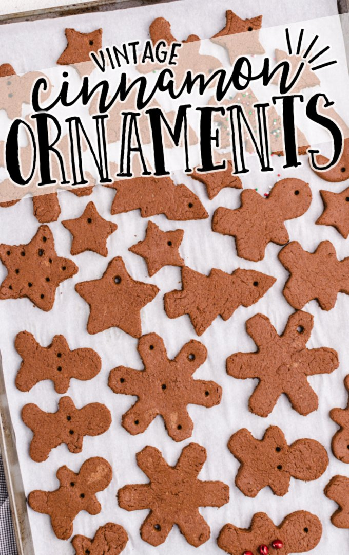 cinnamon ornaments lined on a baking tray