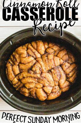 overhead shot of slow cooker cinnamon roll casserole in a crockpot