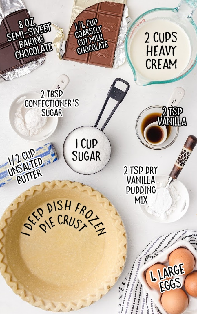 french silk pie raw ingredients that are labeled