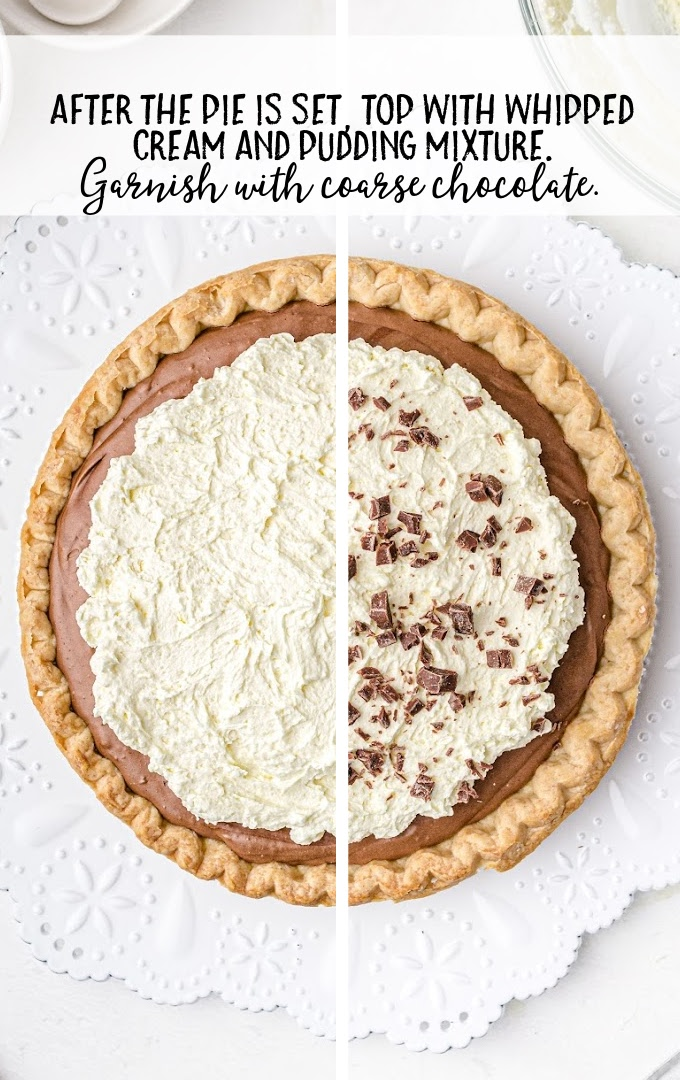 french silk pie process shot