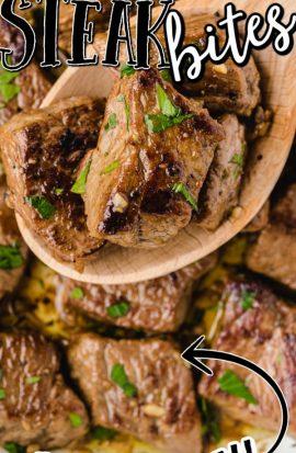 close up shot of steak bites