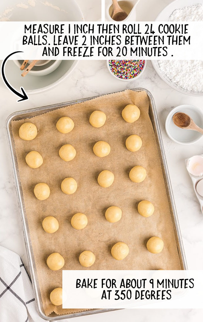 italian cookies process shot of cookies lined on a tray