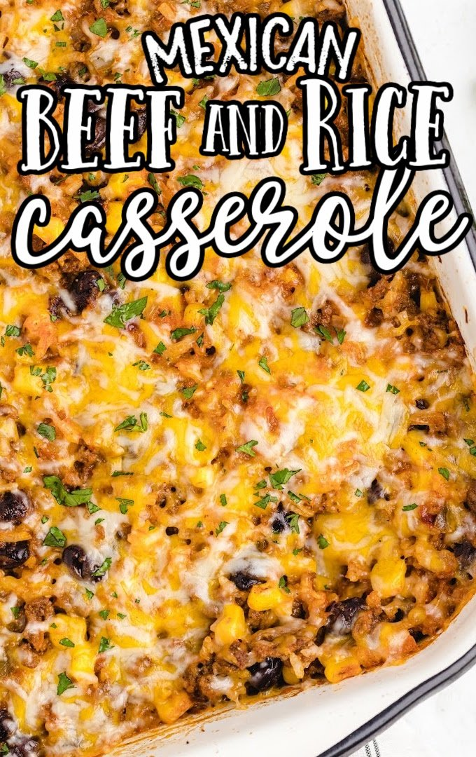 close up shot of Mexican beef and rice casserole in a baking pan