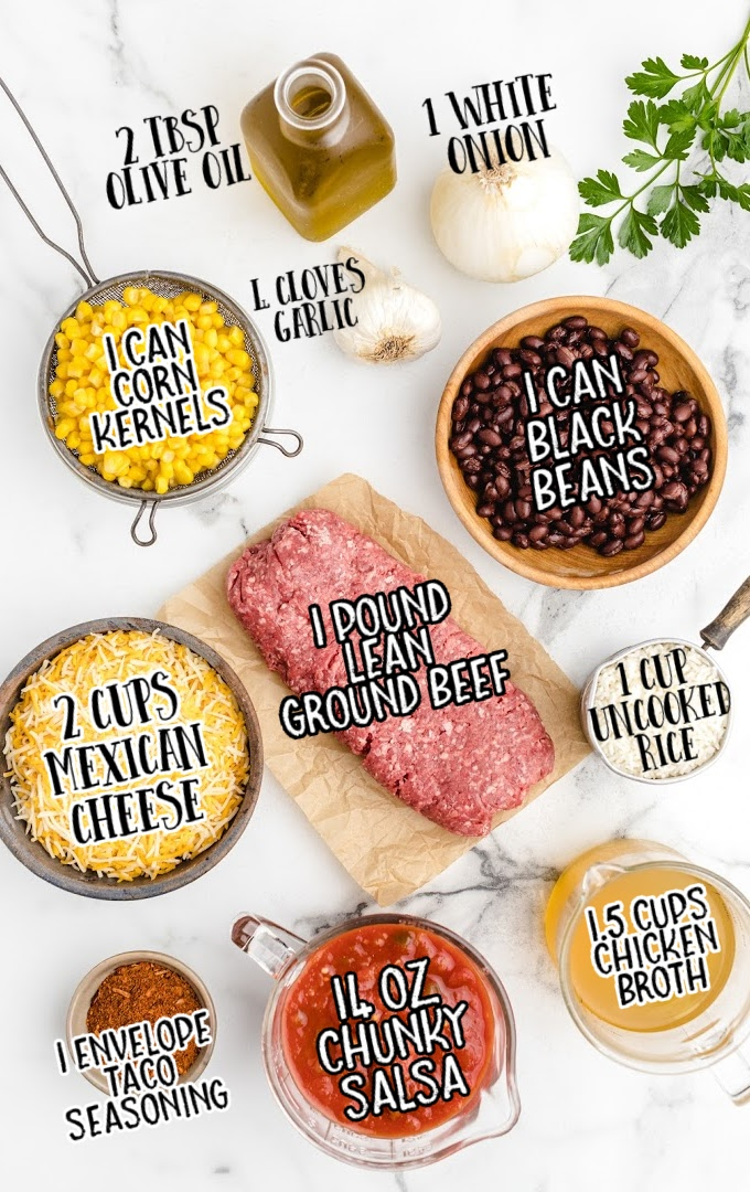 Mexican beef and rice casserole raw ingredients that are labeled