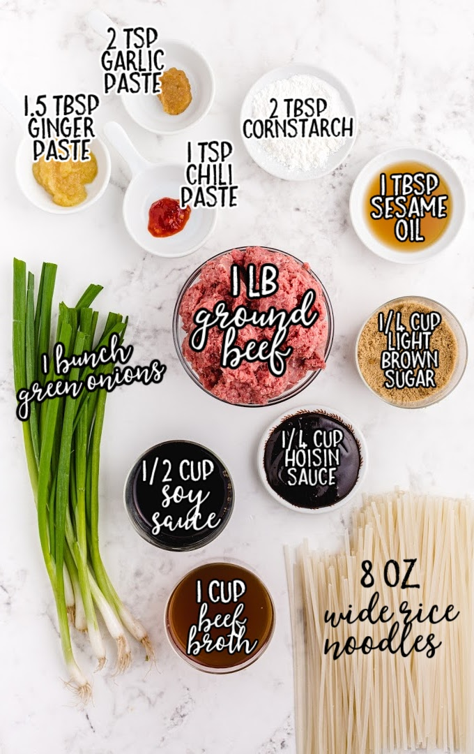 Mongolian beef and noodle raw ingredients that are labeled