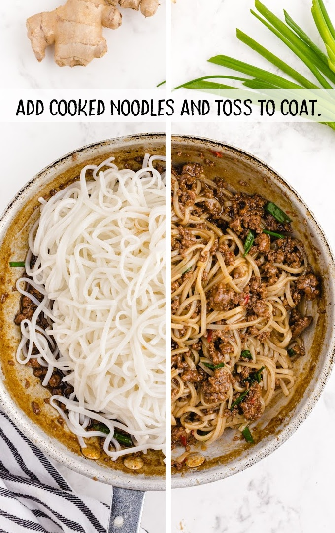 Mongolian beef and noodle process shot