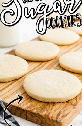 no spread sugar cookies on a wooden board