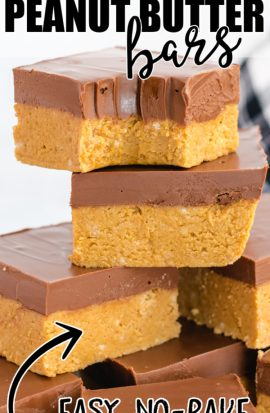 close up shot of no bake peanut butter bars being stacked on top of each other