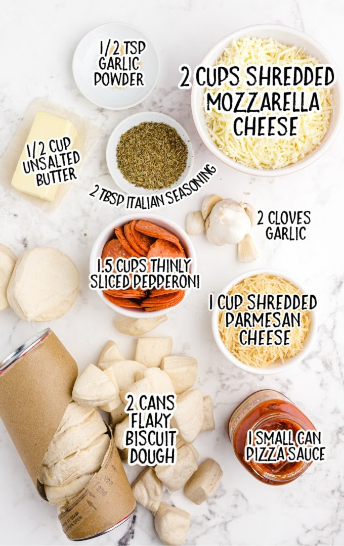 pull apart pizza bread raw ingredients that are labeled