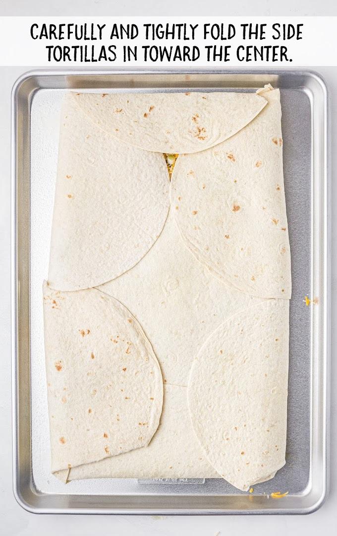 sheet pan quesadillas process shot