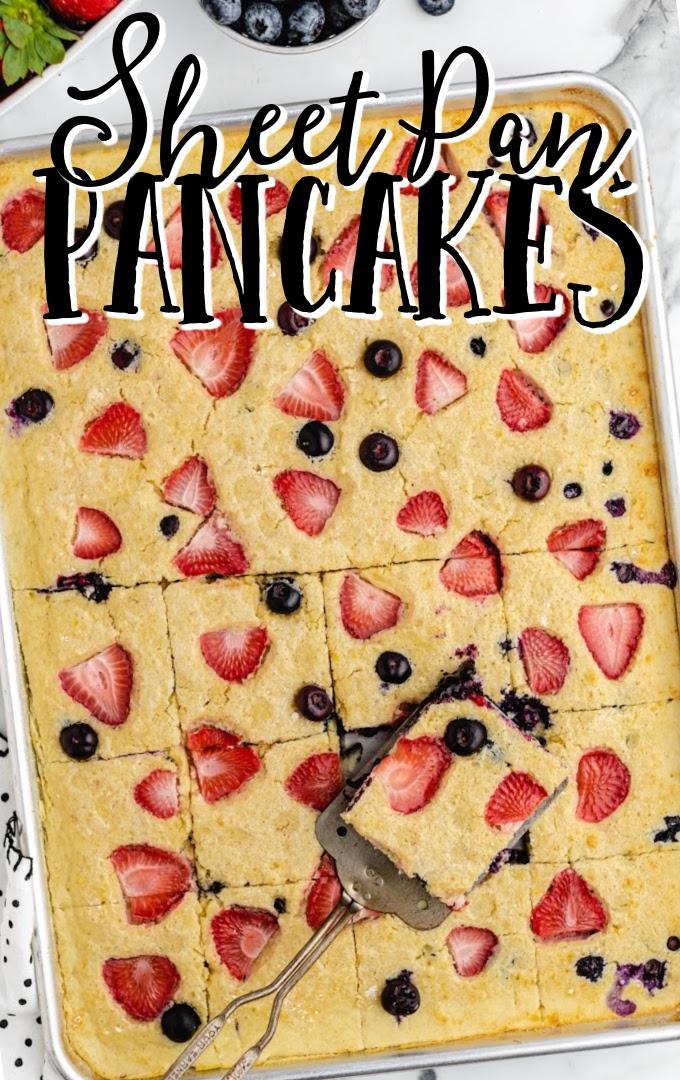 overhead shot of sheet pan pancakes in a baking pan