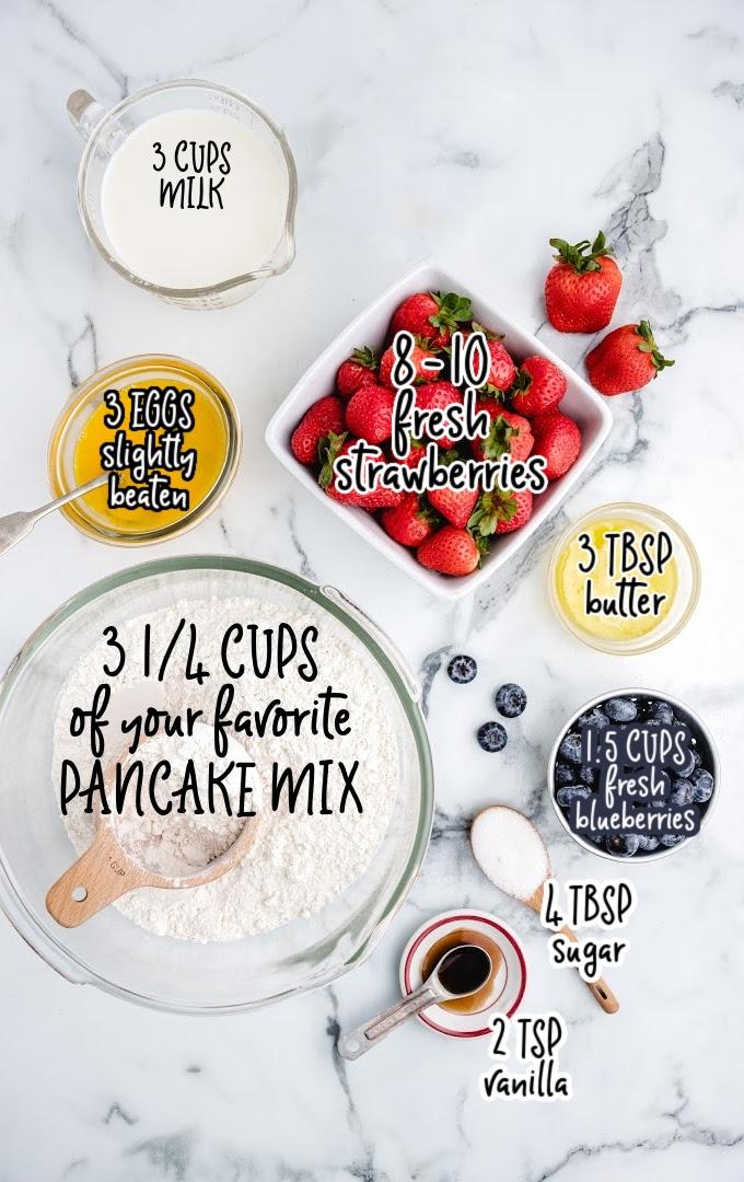 sheet pan pancakes raw ingredients that are labeled