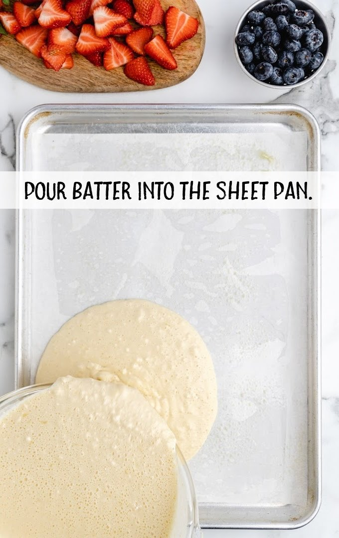 sheet pan pancakes process shot