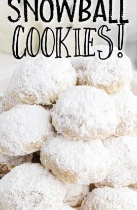snowball cookies piled on top of each other