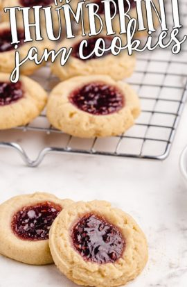 thumbprint cookies displayed on a silver tray