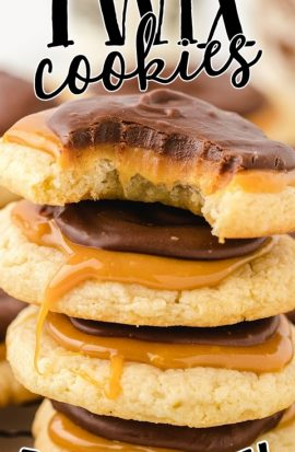 close up shot of twix cookies stacked on top of each other