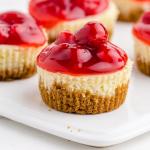 close up shot of mini cherry cheesecake
