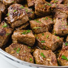 close up shot of steak bites in bowl