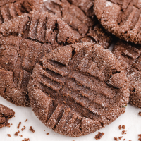 close up shot of chocolate peanut butter cookies