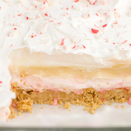 close up shot of candy cane dessert showing it's inside layers