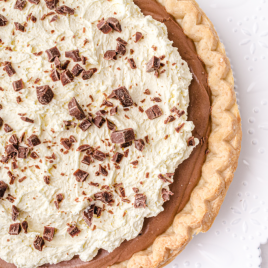 close up shot of french silk pie