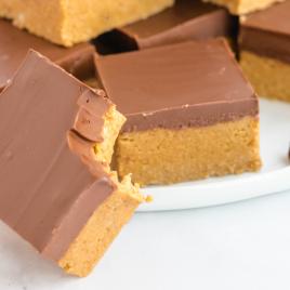 close up shot of no bake peanut butter bars