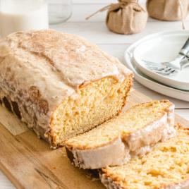 eggnog bread on a wooden board