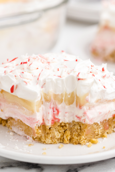 candy cane dessert on a white plate