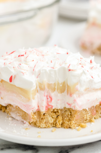 close up shot of a slice of candy cane dessert on a white plate