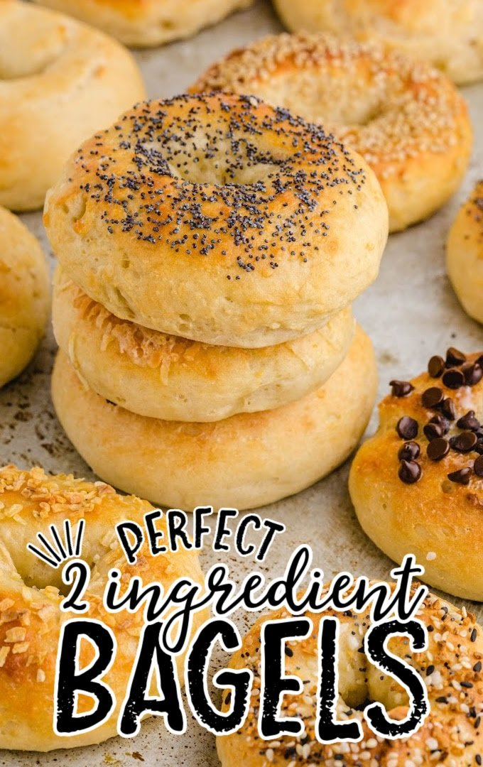 2 ingredient bagels stacked stacked on top of each other