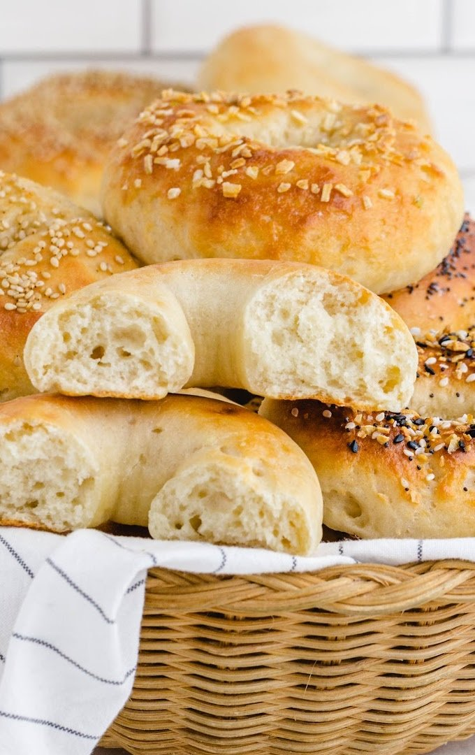 close up shot of 2 ingredient bagels stacked in a basket
