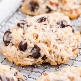 close up shot of Almond Joy Cookies on a cooling rack