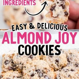 close up shot of Almond Joy Cookies with a bite taken out of it and Almond Joy Cookies stacked on top of each other on a plate