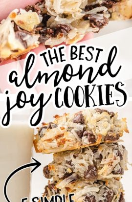 almond joy cookies stacked on top of each other