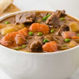 close up shot of a serving of Beef Stew in a bowl