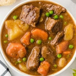 close up overhead shot of a serving of Beef Stew in a bowl