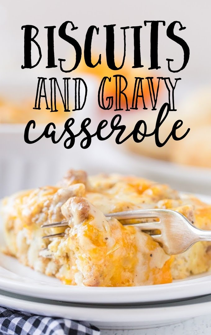 close up shot of biscuits and gravy breakfast casserole on a white plate