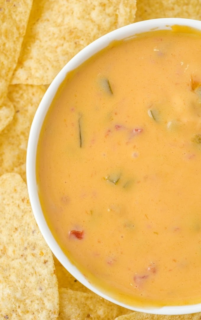 close up overhead shot of cheese dip