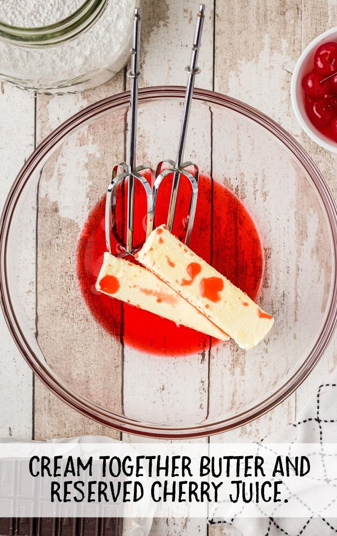 cherry dr pepper cake process shot