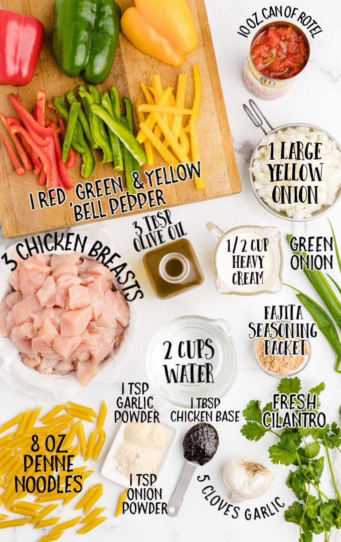 chicken fajita pasta raw ingredients that are labeled
