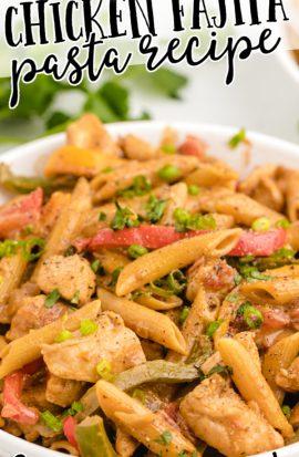 close up shot of chicken fajita pasta in a white bowl