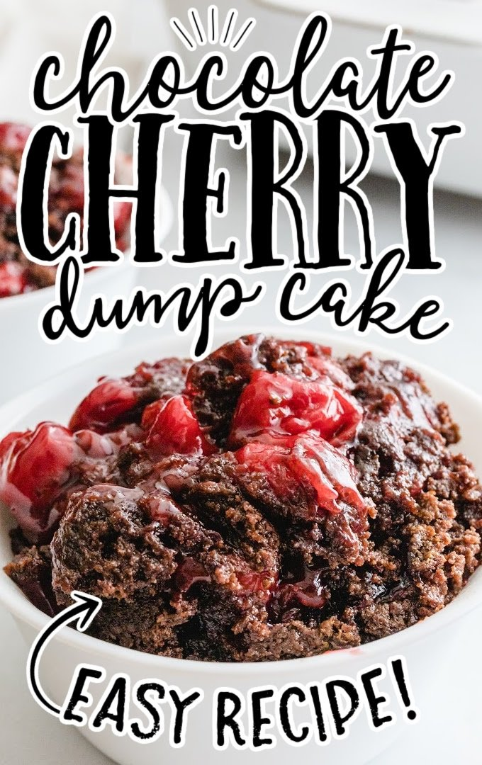 close up shot of chocolate cherry dump cake in a white bowl