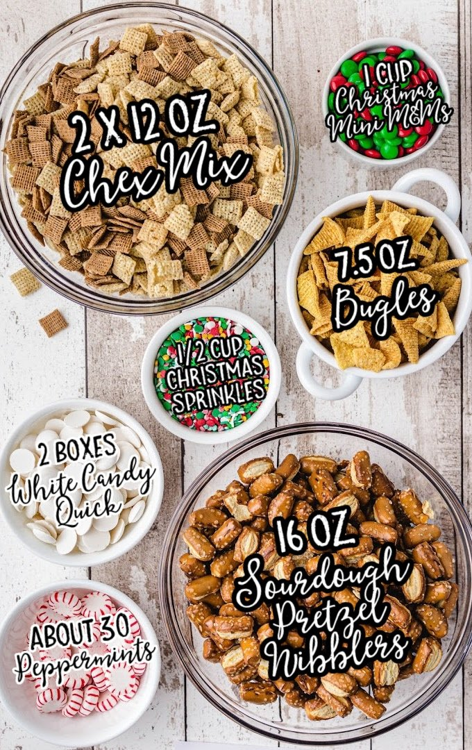 christmas chex mix raw ingredients that are labeled