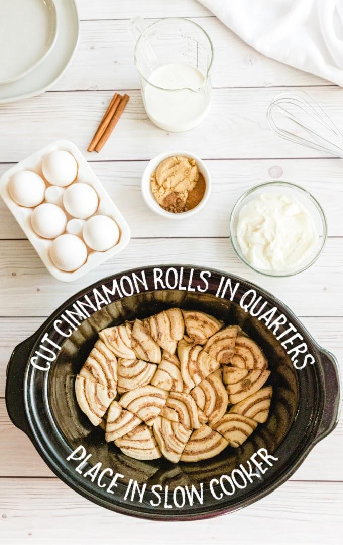 slow cooker cinnamon roll casserole process shot