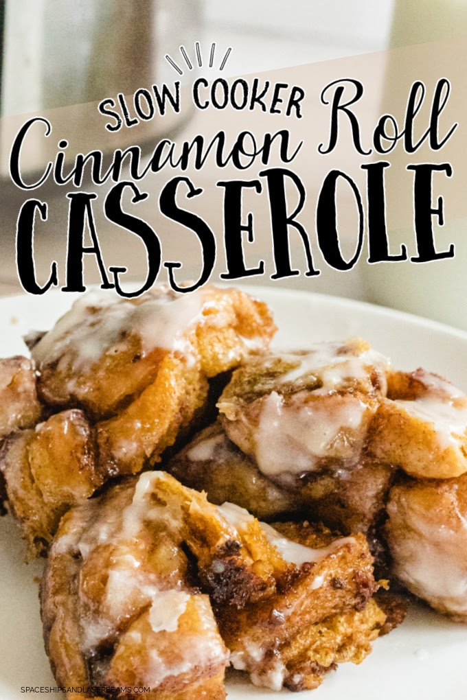 close up shot of slow cooker cinnamon roll casserole on a white plate