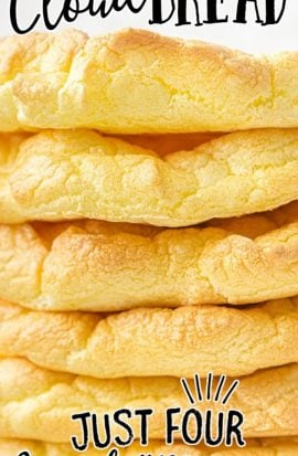 close up shot of cloud bread stacked on top of each other