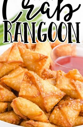 close up shot of crab rangoon on a white plate